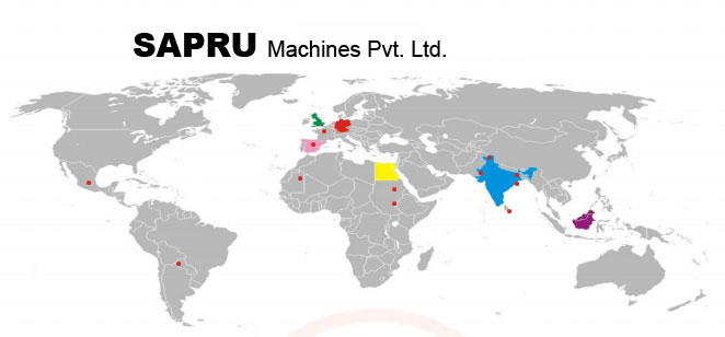 world map, sapru machines pvt ltd, machines, manufacturer of textile machinery, manufacture of uptwisters, Exporter of textile machinery, wide range of yarn processing machines, Draw Texturizing, Draw winder, Lycra Air Intermingling For Filament Yarn, Spun yarn pot, Synthetic yarn pot, PBCW knotless, Grooved Drum knotless, Cop winder, Spool winder, Jari Thread Covering, Rubber Lycra Beam Covering, Fancy Doubler, Twisting Doubling, Ring Doubler, Direct Cable Twister Knotless, ply cable TFO knotless, Embroidery Thread TFO knotless, Two For One Twister, Winder, Hollow Covering, Ring Doubler, Cabler